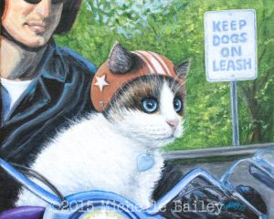 Channeling Motor Cat, acrylic, canvas, 2015 Michelle Bailey - SOLD