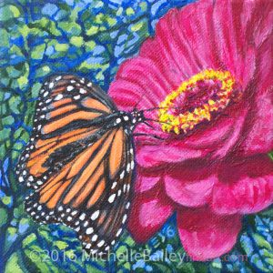 "Monarch Delight II - 6x6"" acrylic on canvas - $85 framed - Contact me or see exhibit at Roscoe's Pizzeria in Takoma Park during reception on April 28th only."
