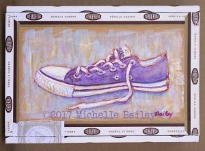 purple converse painting in acrylic by Michelle Bailey Takoma Park, MD