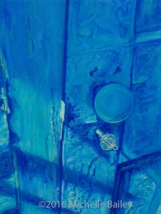 """Room No. 11 by Michelle Bailey 9x12"""" Acrylic on Canvas - on exhibit at Art Hop 16 - Roscoe's"""