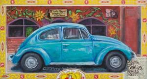 Blue VW at El Gato Negro Cafe Nicaragua