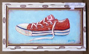 Orange Converse Cigar Box 4.5x7.5in - acrylic by Michelle Bailey $90 - please use contact me for info.
