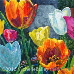 "Garden Tulips I - 6x6"" acrylic on canvas - $150 framed - on exhibit at Art Hop 16 -Roscoe's"