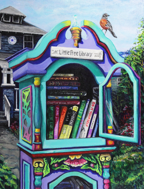 """Waiting for the Bookworms - Little Free Library Takoma Park, MD"" by Michelle Bailey - 11""x14""x3/4"" Acrylic Painting on Canvas"