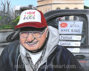 I Love Eggs - Jerry Worrell at the TKPK Farmers Market - Original Painting by Michelle Bailey - Sold! Prints Available.