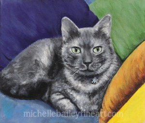 Handsome Kitty - Original Acrylic Painting by Michelle Bailey - cigar box- NFS - giclee available