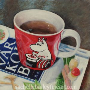 Moomin Teacup with Swedish Cookbook - Original Acrylic Painting by Michelle Bailey on Panel