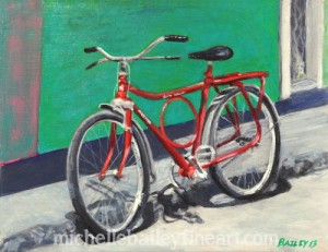 """Red Bicycle"" Painting by Michelle Bailey"