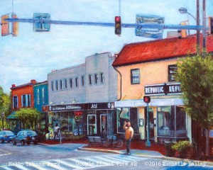 """Hello Takoma Park"" acrylic/ballpoint pen ink on panel by Michelle Bailey - SOLD"