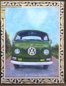 VW Van Cigar Box 7x9in - acrylic by Michelle Bailey $90 - On exhibit and for sale at Roscoe's Pizzeria in Takoma Park. Please use contact form to inquire about availability.