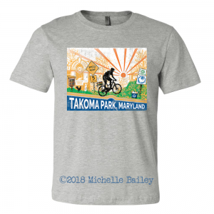 Michelle Bailey Fine Art T-Shirt Takoma Park Maryland Bicycle Little Free Library Speed Hump Athletic Heather