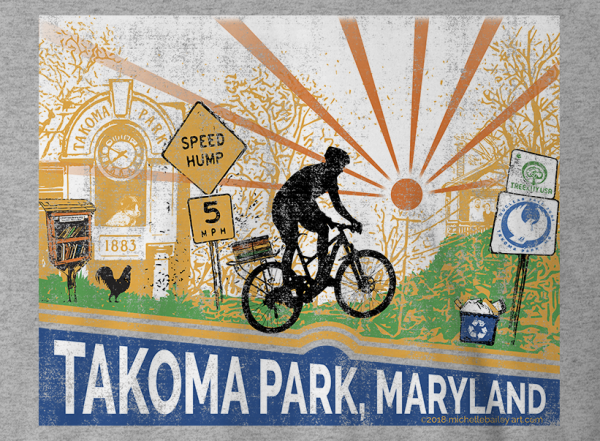 Michelle Bailey Fine Art T-Shirt Takoma Park Maryland Bicycle Little Free Library Speed Hump Athletic Heather Detail