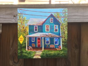 Blue House Takoma Park acrylic painting by Michelle Bailey on display at Art Hop 2018
