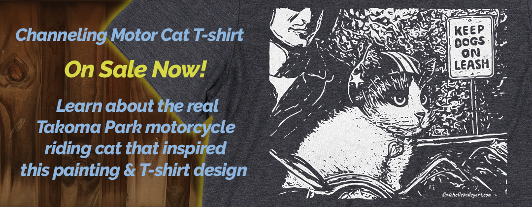 Learn about the real Takoma Park motorcycle riding cat that inspired this painting Chaneling Motor Cat Classic Tshirt on sale now
