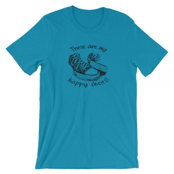 Happy Shoes Converse Sneakers | Unisex T-Shirt Aqua shirt color by Michelle Bailey Fine Art